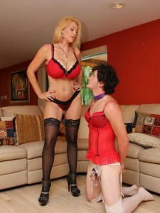Dominatrax Charlee Chase tops Her crossdressing Cuckold