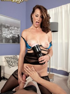 Sultry Milf Mimi Moore jerking a cock
